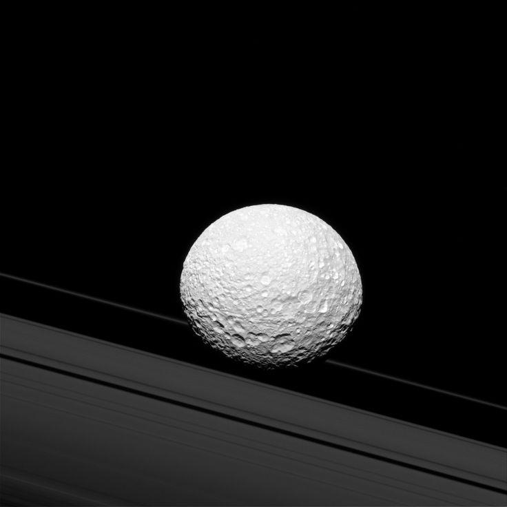 "Credit: NASA/JPL-Caltech/Space Science Institute. ""Mimas and Saturn's rings."" | NASA/JPL"