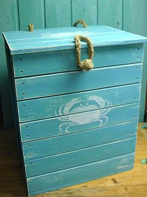 Laundry Hamper Wooden Crab Crate Starfish Seahorse Side Table Treasure Chest Trunk Starfish Seahorse