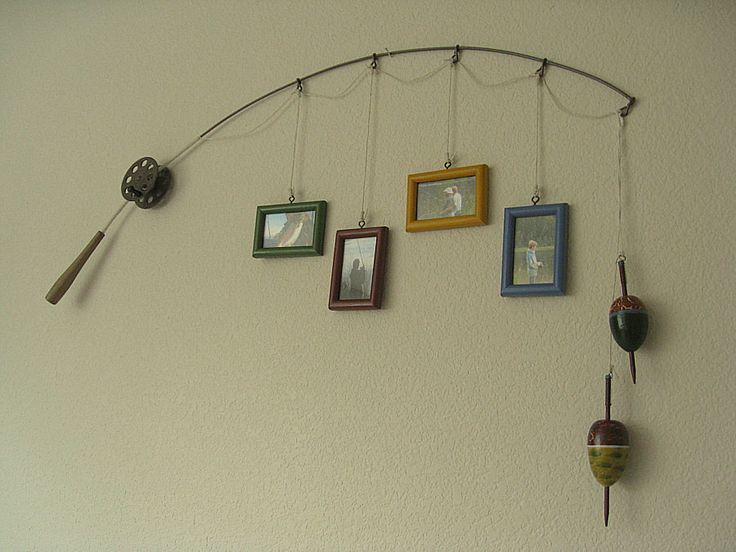 Fishing Pole Picture Frame - Metal Brown - 4 Frames.