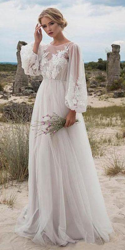 Fabelhafter Tüll Jewel Ausschnitt Natural Taille A-Linie Brautkleid mit Perlen