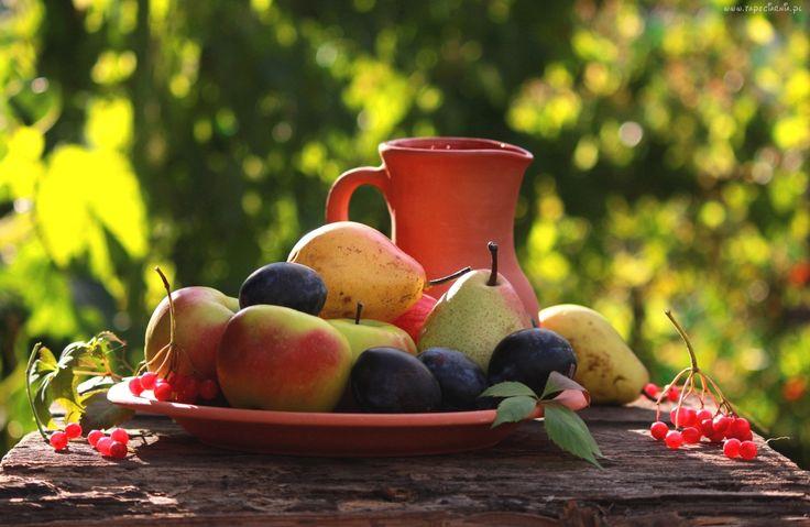 Owoce, Jesieni, Ogród, Ławka, Światło