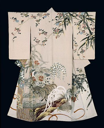 "Yuzen dyeing ceremonial kimono of hitokoshi silk crepe ""Delight"", made in 1954"