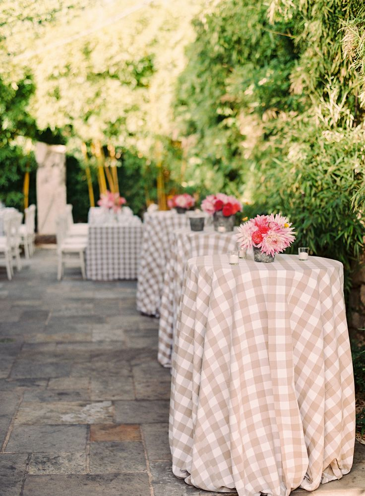 #tablecloth, #plaid, #cocktail-table  Photography: Jessica Burke - jessicaburke.com  View entire slideshow: Pretty Patterned Wedding Details on http://www.stylemepretty.com/collection/1487/