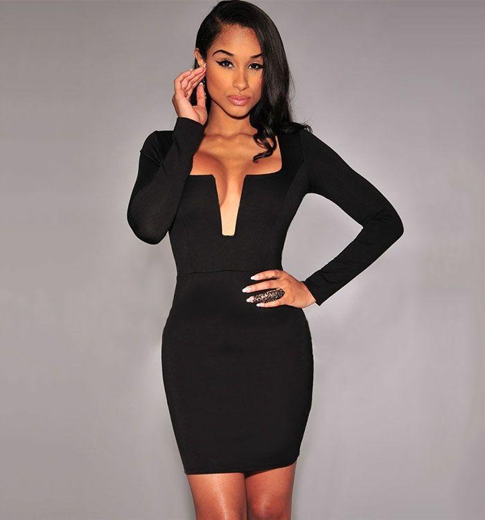 Vilanya Long Sleeve Plain Black Bodycon Dress Mini for Lady