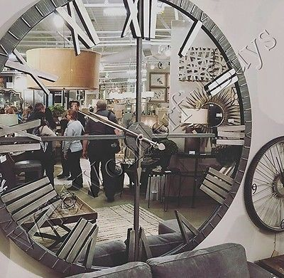 mirrored wall clock 60d round mirror roman numeral industrial style extra large - Large Decorative Wall Mirrors