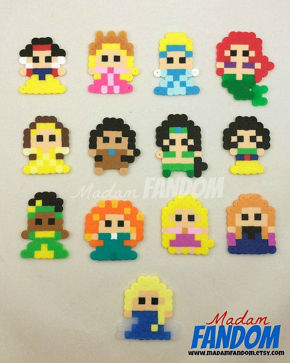 DISNEY PRINCESS Party Favors, 8bit Style // Available from MadamFANDOM on etsy. ***original MadamFANDOM designs. Do not copy!***