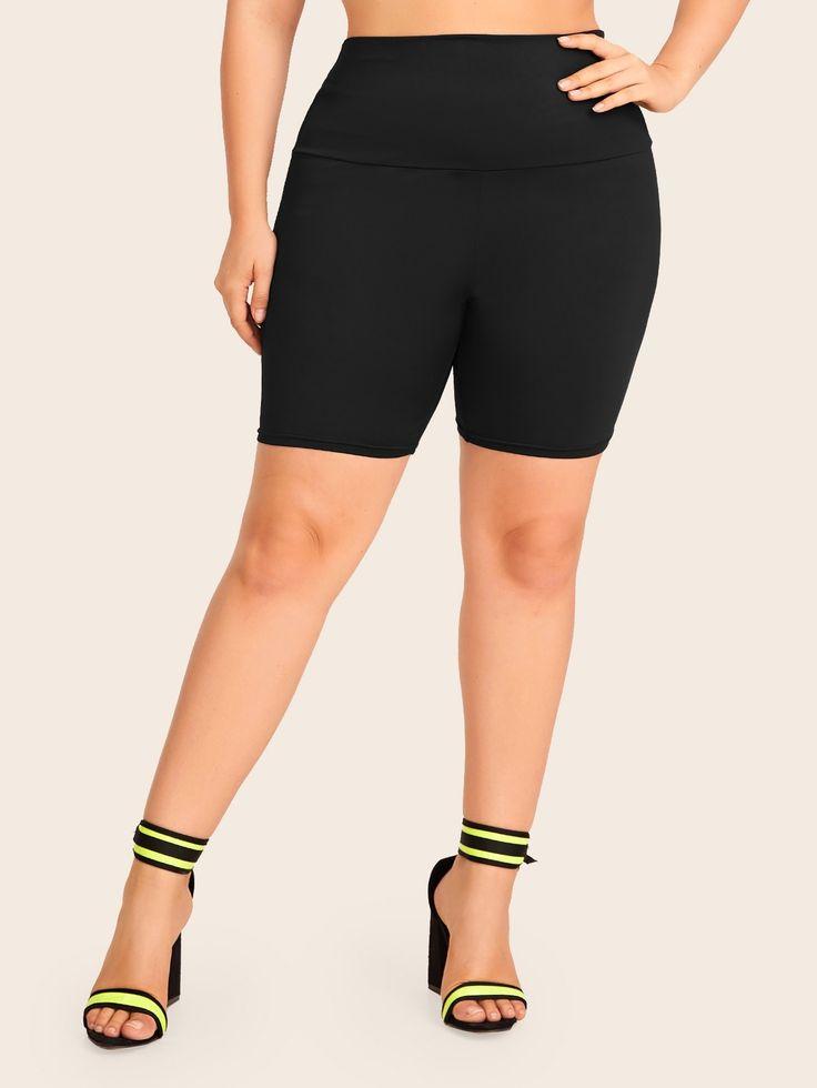 Ad: Plus Criss Cross Skinny Biker Shorts. Tags: Black, Criss Cross, Fabric is ve…   – Plus Size Leggings