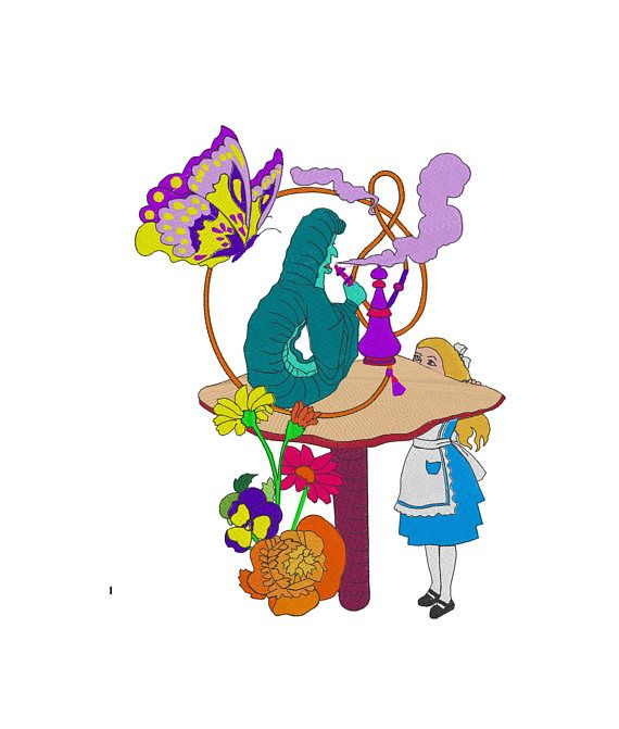 Alice and the Caterpillar Embroidery Design Alice in