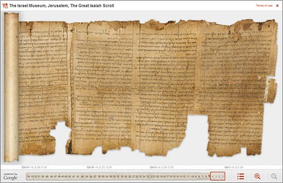 The Great Isaiah Scroll, pictured above, dates to around 125 BC, about 1000 years older than the oldest known manuscripts of the Hebrew Bible at the time it was discovered in 1947. With Google, the Israel Museum has digitized five of the scrolls. Viewers can zoom in on the text and drag their cursors over particular verses, revealing English translations of the Biblical Hebrew.