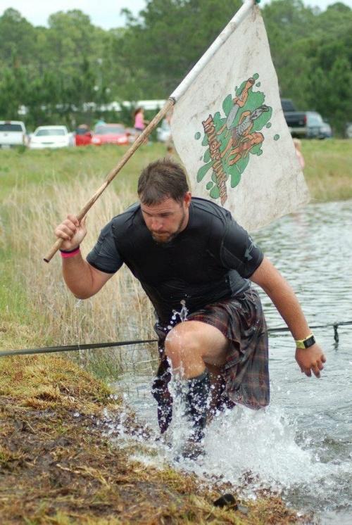 mud run in a kilt