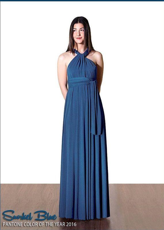 Snorkel Blue Dress Long Maxi Infinity Convertible Dress Formal Multiway Wedding Dress Bridesmaid Evening Dress Wrap Dress