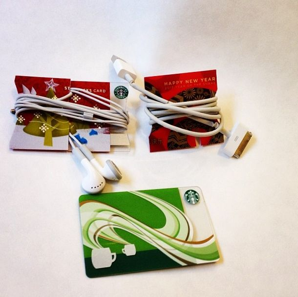 Wrap your headphones and chargers around old gift cards so that you don't have to deal with inexplicable tangles and knots.