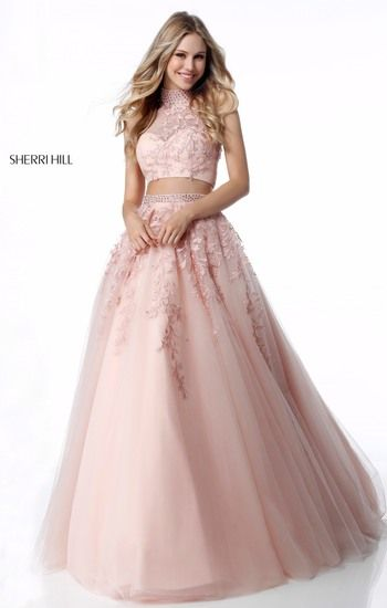 14cf0df43e Blush pink two piece prom ballgown with halter illusion neck and detailed  skirt. Also available in red.