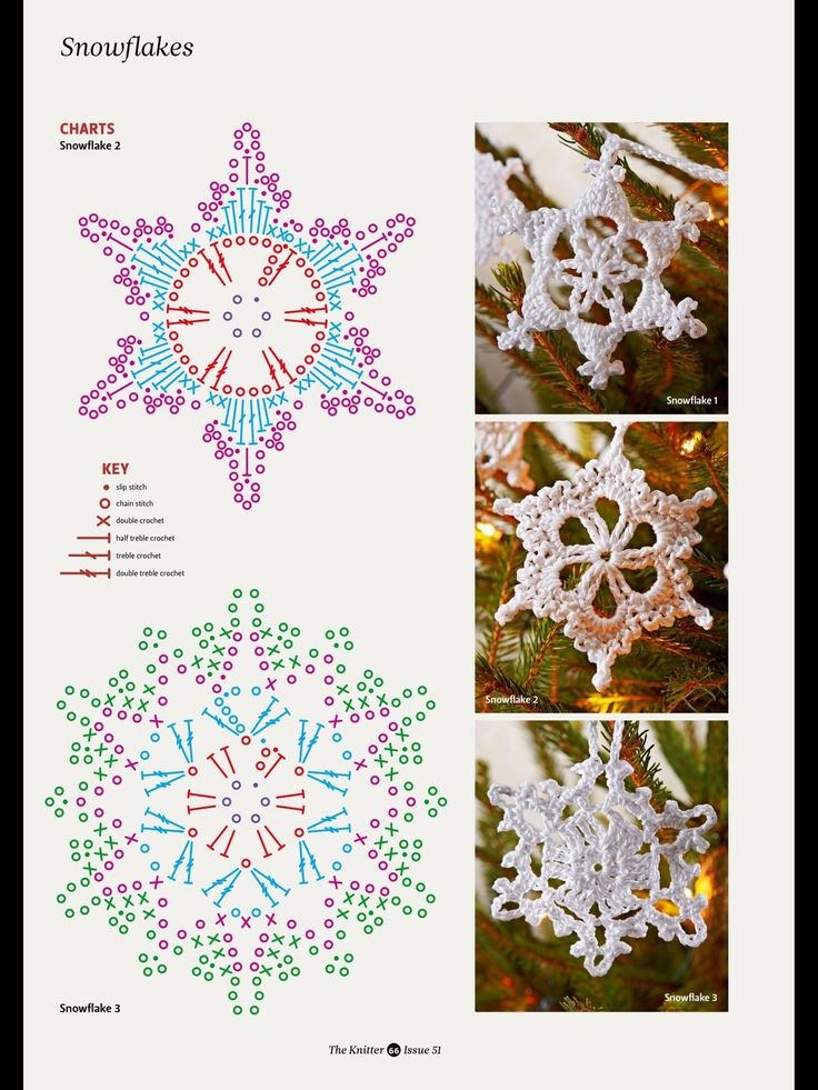 Stitch Diagram Crochet Snowflake Pattern Electrical Drawing Wiring