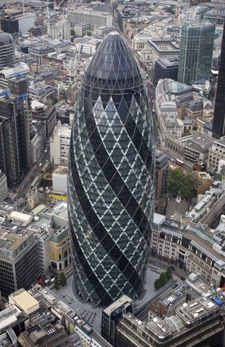 30 ST MARY AXE ['THE GHERKIN'] | ST MARY AXE | CITY OF LONDON | LONDON | ENGLAND: *Built: 2001-2003; Official Opening: 28 April 2004; Architect: Sir Norman Foster; Height: 591ft (180m); 41-Storeys*