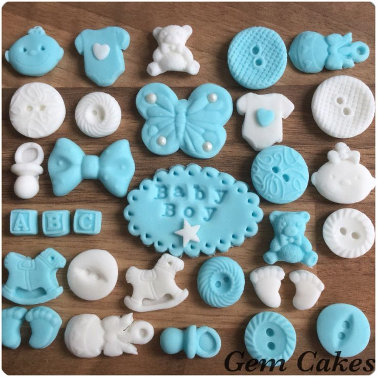 Edible baby Shower christening Blue white  cupcake toppers decorations for Boys