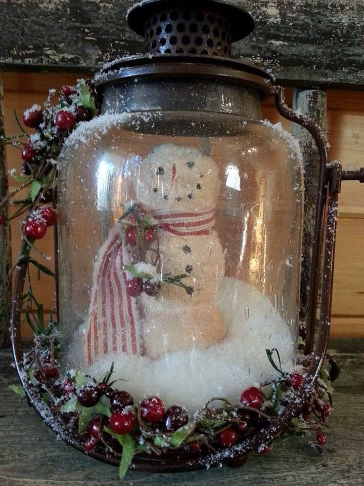 Snowman In A Lantern