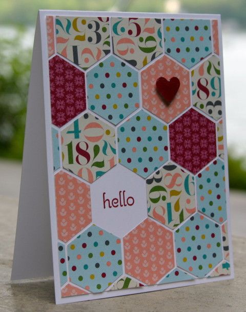 Stampin Up Hexagon Punch Hello 1  Just bought a hexagon punch.....cute idea :)
