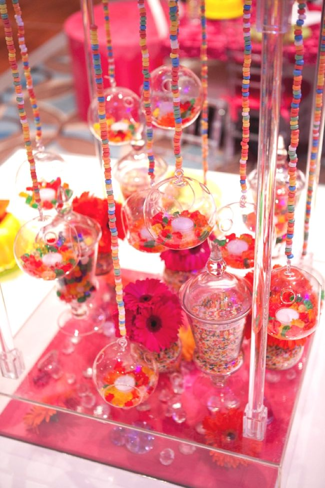 Candy centerpieces necklaces glass apothecary