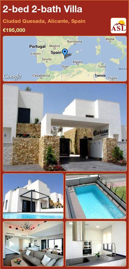 2-bed 2-bath Villa in Ciudad Quesada, Alicante, Spain ►€195,000 #PropertyForSaleInSpain
