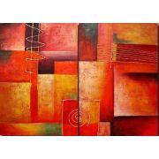 Red Tones Canvas Wall Art Painting.  This handsome abstract wall art duo puts oomph into home decorating. The main pallet is boldly hued in brilliant Red Tones, whereas yellows, white, and black act as accent colors. Geometric forms interact with line and hue to create an illusion of space and an interesting visual effect as well.  http://www.homedecortapestries.com/red-tones-canvas-wall-art-painting