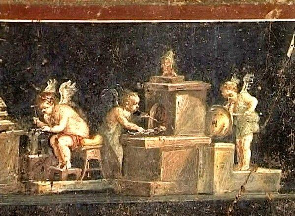 Cupids making gold. Fresco from the House of the Vettii. Casa dei Vetti. #Pompeii