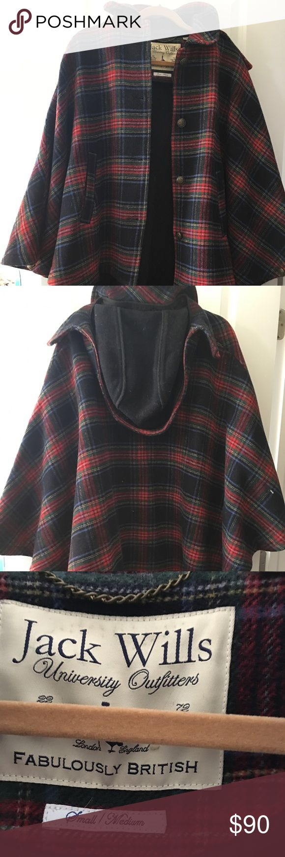 """Jack Wills Claverham Cape *MOVING SALE! Open to all offers!* Jack Wills Claverham Cape, size is small/medium as seen in pics. Barely worn. Front: 25"""" from collar to bottom. Back: 32"""" from base of collar to bottom. Hood is removable. BUNDLE & SAVE!! Buy 3 items from my closet, get a 15% discount (everything is already heavily discounted) 💁👗👚👖👠👜 Jack Wills Jackets & Coats Capes"""