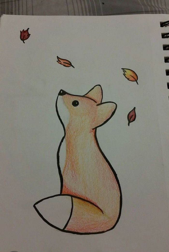 Baby Fox Looking Up At Falling Leaves Cute Things To Draw Colored Drawing On White Background In 2020 Cute Easy Drawings Easy Drawings Sketches Easy Drawings
