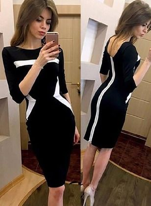 Polyester Color Block 3/4 Sleeves Knee-Length Sexy Dresses (1030983) @