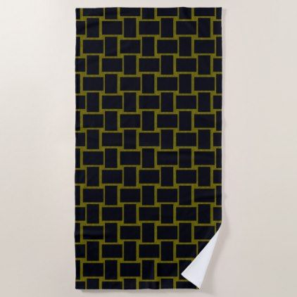 Blocks Black and  Sunlight Modern Beach Towel - black gifts unique cool diy customize personalize
