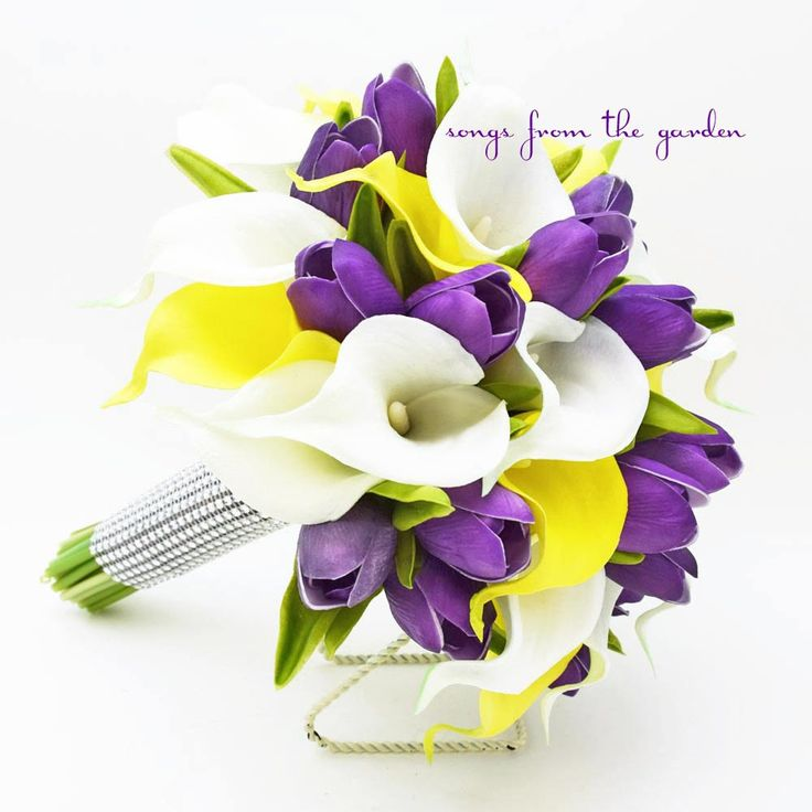 Real Touch Yellow White Callas Purple Tulips Bridal Bouquet - Real Touch Silk Flower Bridal Bouquet