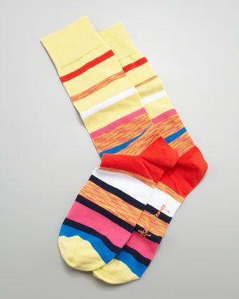 Multi Space Dye Stripes Men\'s Socks, Light Yellow by Arthur George by Robert Kardashian at Neiman Marcus.