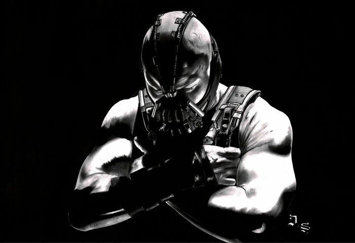 Diego Septiembre - Original Charcoal And Graphite Drawing - Bane (Batman) - W.B.