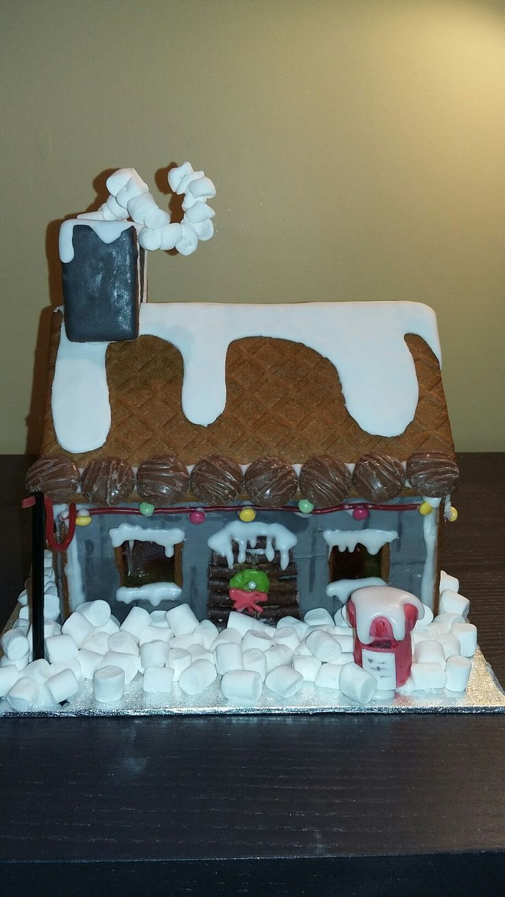 Gingerbread house, Christmas, red letterbox, picture postcard by Danielle Smith ( Rockylicious Cakes )
