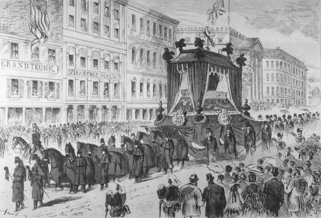 Funeral procession of George-Étienne Cartier.