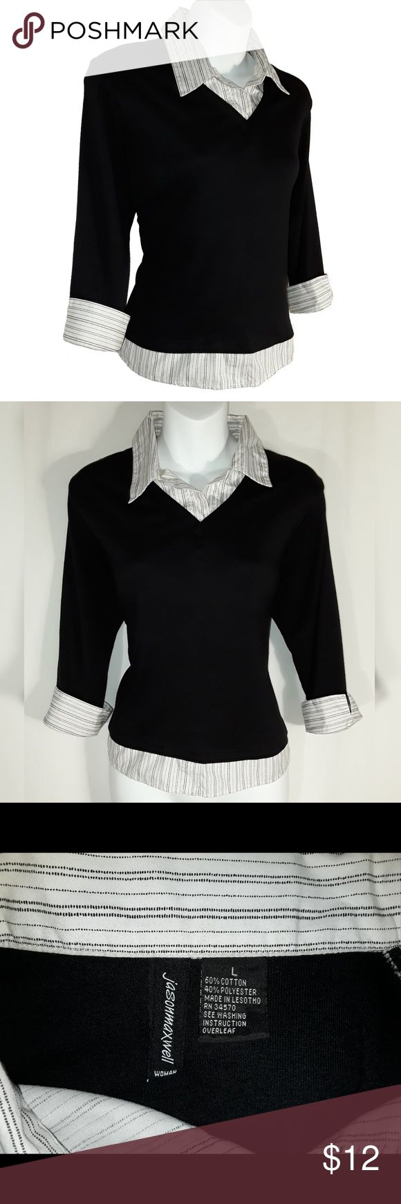 Black with Stripes Layered Look Collar Top Black top with a layered look. Made by Jasonmaxwell. Size Large. Shirt in good used condition. Great work professional shirt. A good #GirlBoss top :) Shirt made to look like a stripped shirt is underneath. Cuffs roll up. Pairs great with black pants!  Flaw: Found a very small spot near neckline on the collar. I never noticed it until I was packaging (see last photo). Might be able to be rubbed out.  Please let me know if you have any questions or…