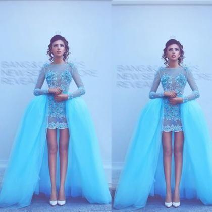 Blue Evening Dress, Detachable Skirt Evening Dress, Sheer Evening Dress, Sexy Evening Dress, Puffy Evening Dress, Lace Applique Evening Dress, Floral Evening Dress, Cheap Evening Dress, Evening Dresses 2017