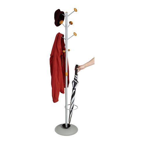 mind reader free standing 8 hook coat rack with umbrella holder silver