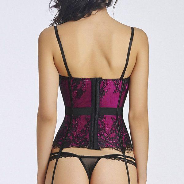 Sexy Push Up Eyelash Lace Tummy Control Corset For Women Cheap - NewChic