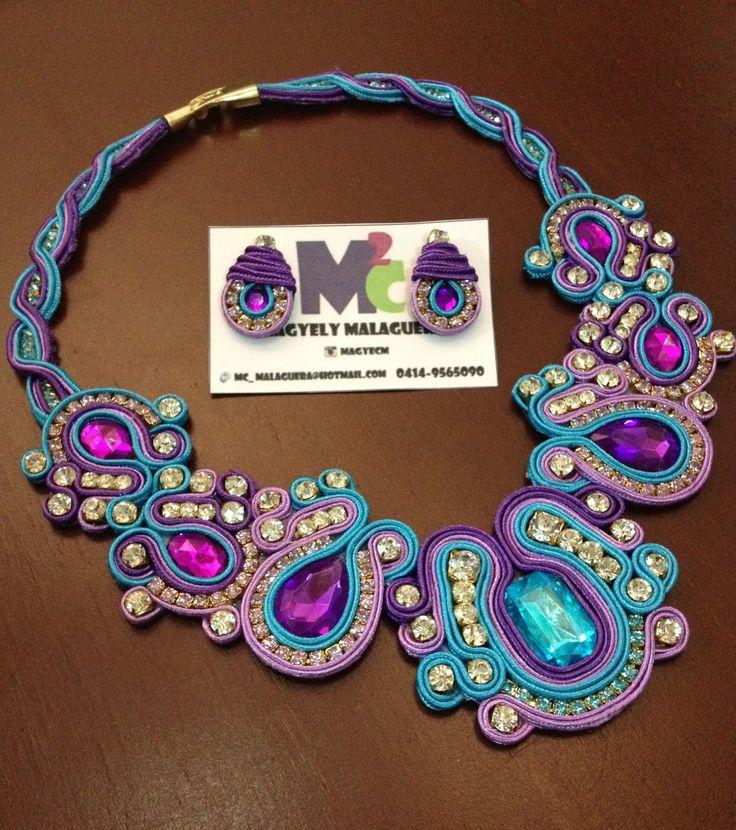 Collar de Soutache Modelo Eleonora •••Accesorios M2C••• Venezuela +584149565090