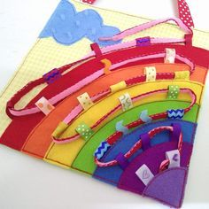 Lacing Rainbow Quiet Tablet. Lacing Quiet book page. Busy Bag.