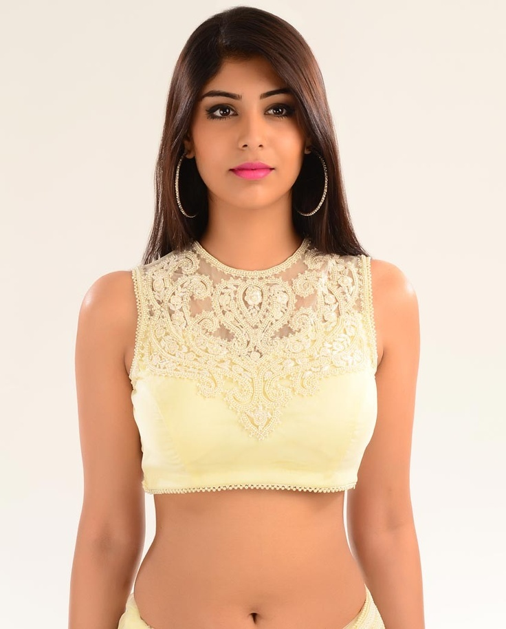 Pearl Embellished Cream Net Sari - Exclusively In