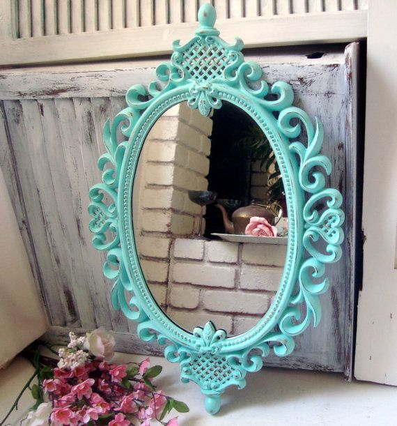 Aqua Blue Ornate Oval Mirror Teal Vintage Oval Mirror