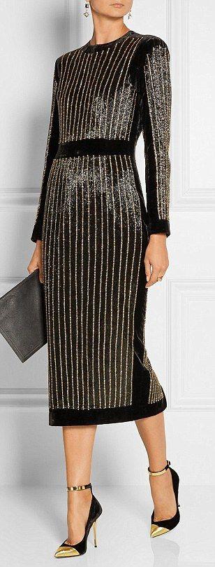 Balmain embellished velvet midi dress, 12,080, Net-a-porter.com...
