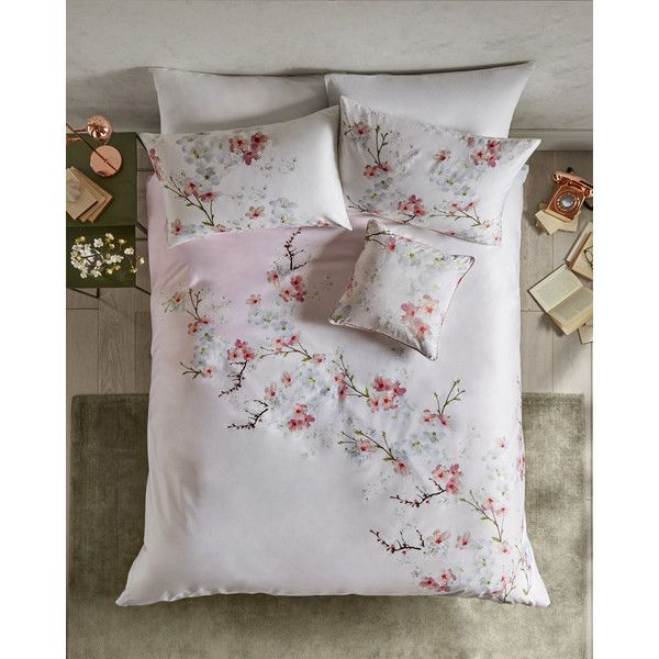 Ted Baker Oriental Blossom cotton super king duvet cover (185 AUD) ❤ liked on Polyvore featuring home, bed & bath, bedding, duvet covers, baby pink, asian bedding, asian inspired bedding, flower stem, blush pink bedding and oriental style bedding