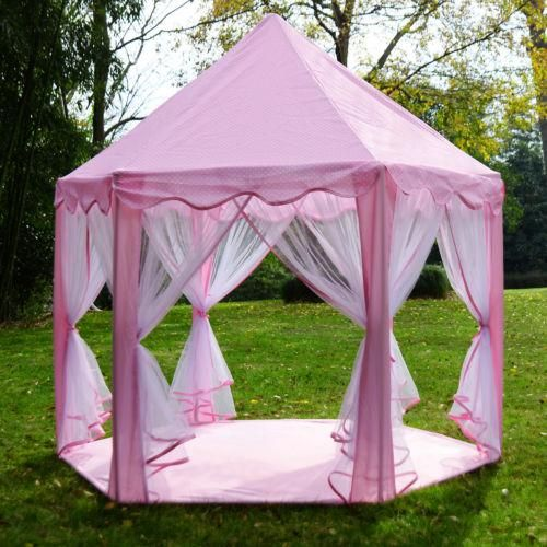 Pink Princess Playhouse Castle With Netting, Outdoor or Indoor