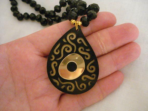 Black curved evil eye rosary Gold eye necklace Black crystal