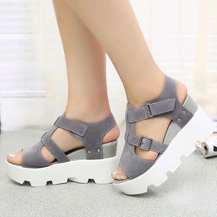 2017 Sandalias de Verano Zapatos de Mujer de Tacón Alto Zapatos Casuales calzado chanclas Plataforma de Punta Abierta de Gladiador Zapatos de Mujer Y48W