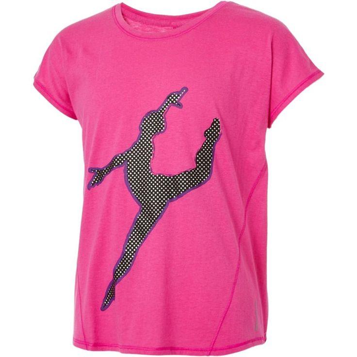 Reebok Girls' Cotton Split Back Dance Silhouette Graphic T-Shirt, Size: XL, Berry Blast