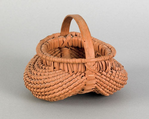 """Realized Price: $ 3792   Unusual miniature split oak buttocks basket with a bentwood handle and rolled lip, 3 1/2"""" h., 4"""" dia. ~♥~"""